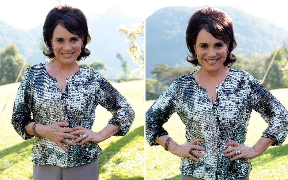 A Clô de Regina Duarte arrasou com sua blusa de lantejoulas