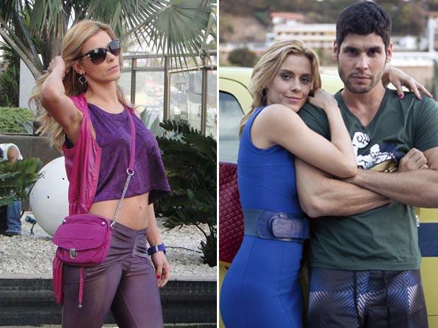 Teodora abusa de roupas e acessórios em tons de rosa, azul e púrpura (Foto: Fina Estampa/ TV Globo)