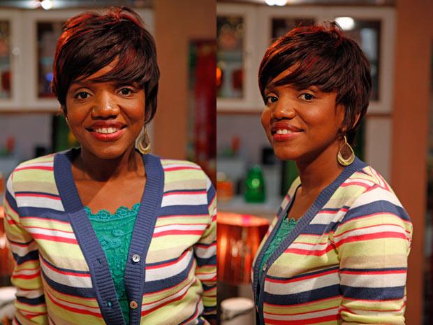 Mary Sheila adorou o corte moderno de sua personagem (Foto: Aquele Beijo/TV Globo)