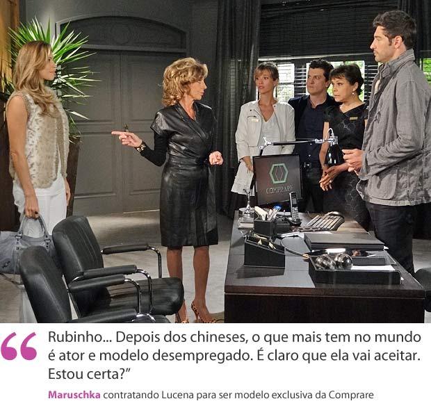 Maruschka contrata Lucena (Foto: Aquele Beijo/TV Globo)