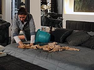 Pereirão joga panos de chão sujos na cama (Foto: Fina Estampa/ TV Globo)