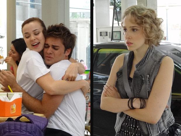 Babi vê Betão abraçado com Débora e fica furiosa (Foto: Malhação / TV Globo)