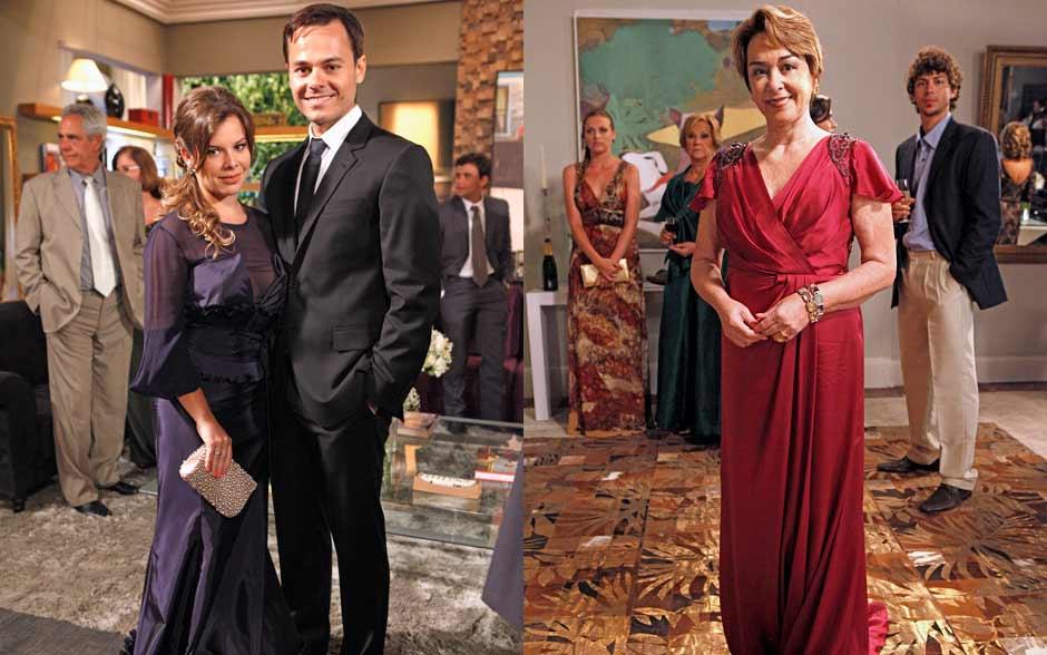Camila usava decote com transparência, Ricardo optou por terno escuro, enquanto longo de Regina alongava a silhueta com drapeado descentralizado