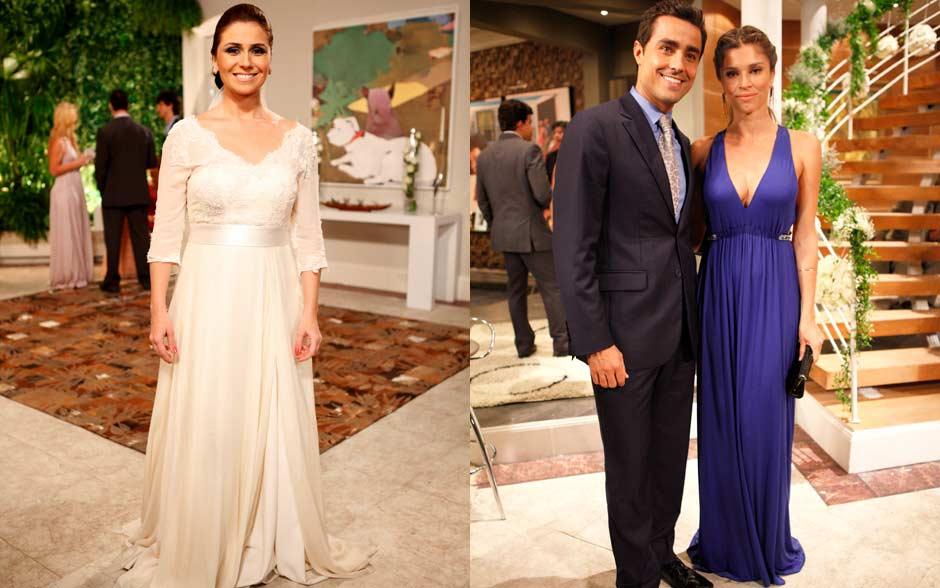 Claudia casou com vestido tipo império, Vicente usou gravata com desenhos e Lucena usou longo azul com decote vertigonoso
