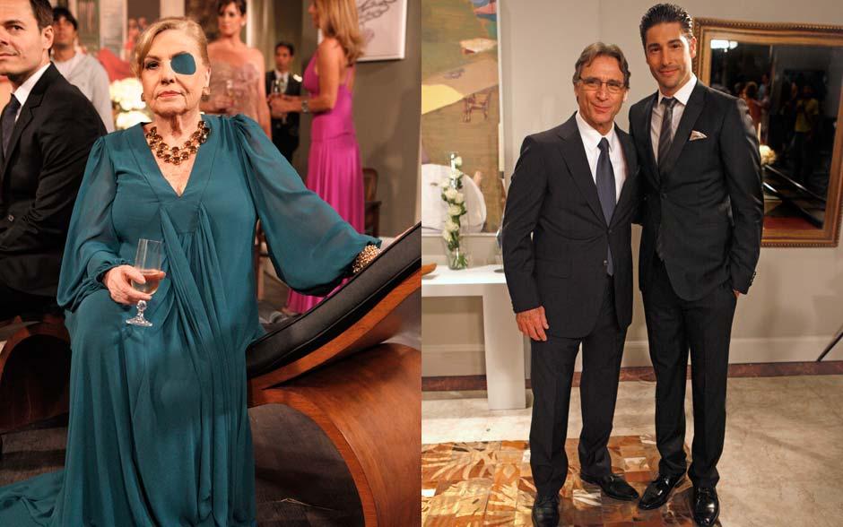 Mirta usou cor única e drapeado centralizado, que alongam a sihueta. Alberto e Rubinho exibiram o clássico terno escuro com camisa branca. Sem erro