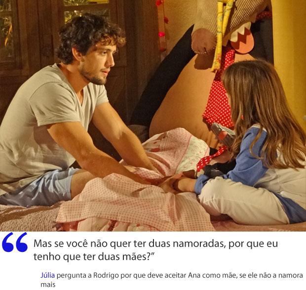 Rodrigo não sabe o que dizer a Júlia (Foto: A Vida da Gente / TV Globo)
