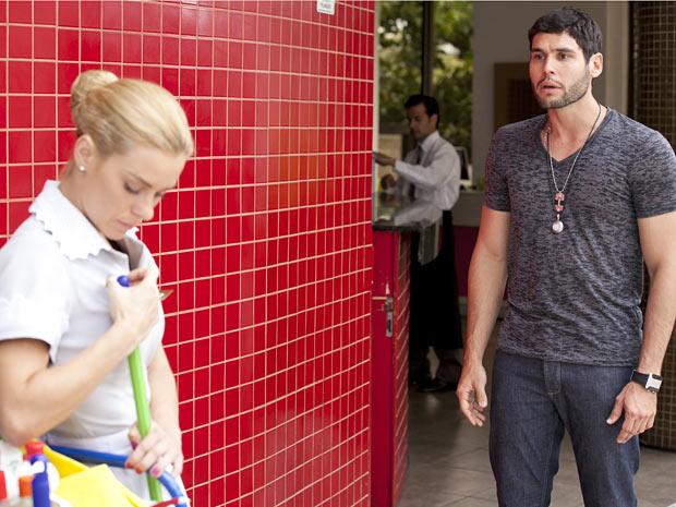 O lutador fica chocado ao ficar cara a cara com a ex-mulher (Foto: Fina Estampa/TV Globo)