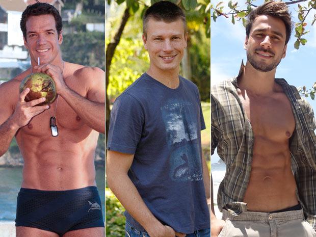 Carlos Machado, Rodrigo Hilbert e Julio Rocha estão com o corpo em dia (Foto: Fina Estampa/TV Globo)