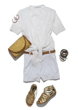 Batas e shorts brancos ganham vida com acessórios coloridos (Foto: C&A)