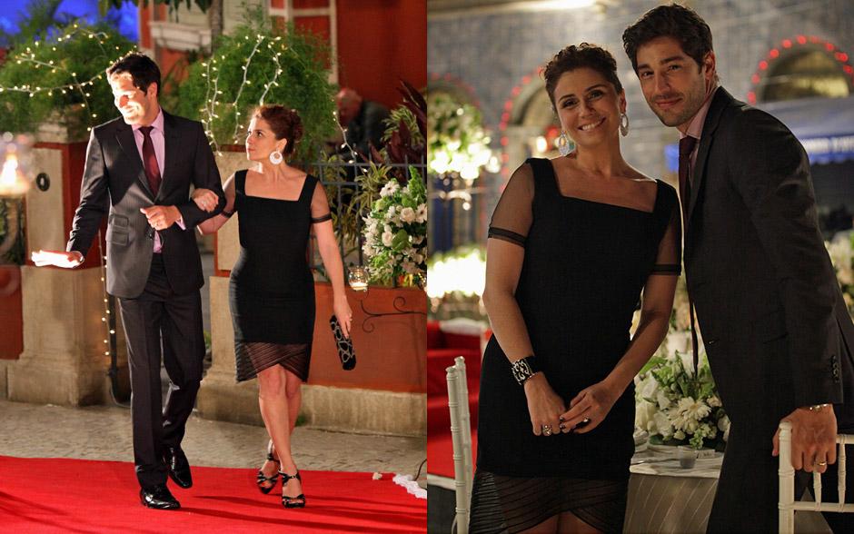 Claudia opta por vestido preto com transparência