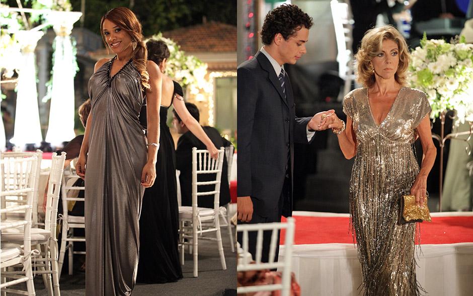 Maruschka escolhe vestido com franjas e Grace Kelly um longo metálico