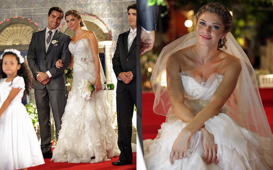 Lucena se casa com vestido exuberante, enquanto Vicente mantém a discrição