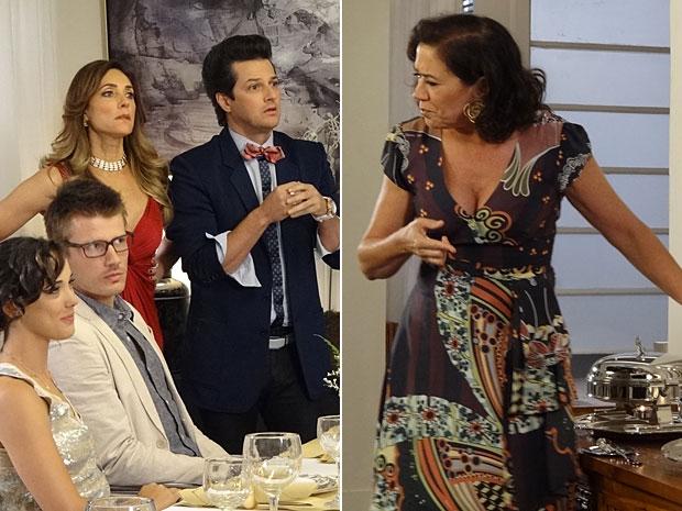 Portuguesa faz piada da comida servida no jantar da rival (Foto: Fina Estampa/TV Globo)