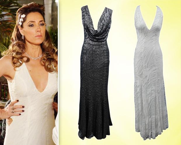Tereza Cristina poderia optar por vestido longo branco ou, para um visual mais ousado, verde escuro (Foto: Fina Estampa/TV Globo)