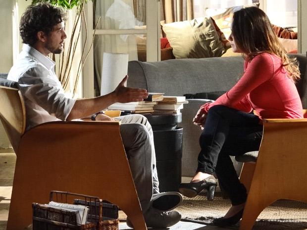Ana pede para conversar com Rodrigo e ele é grosseiro com a ex (Foto: A Vida da Gente/ TV Globo)