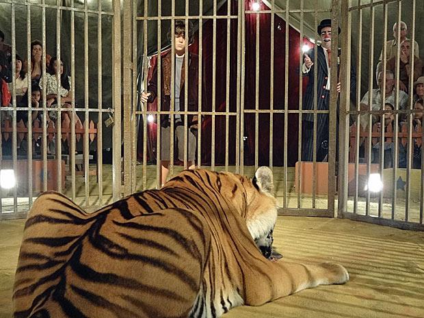 No circo, Carlos doma animais selvagens (Foto: Amor Eterno Amor/TV Globo)