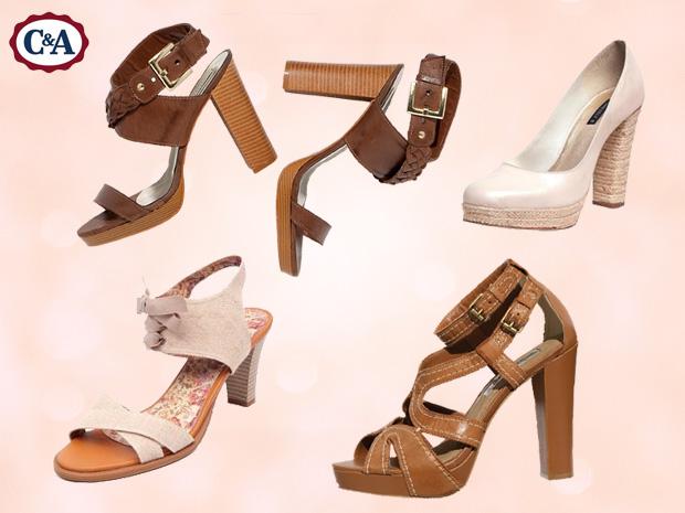Patrícia prefere calçados de couro ou em tons neutros com saltos mais grossos
