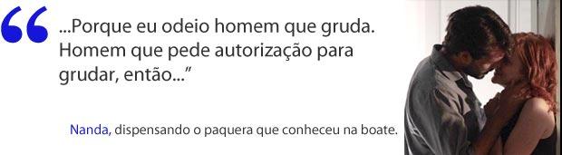 Até para dispensar paquera, Nanda usa o humor (Foto: A Vida da Gente / TV Globo)