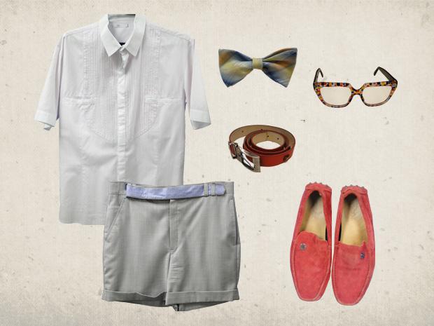 Camisa, bermuda e os óculos no estilo retrô não podem faltar na fantasia (Foto: Fina Estampa/TV Globo)