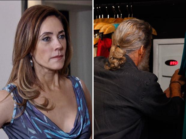 Tereza Cristina chega no quarto na hora em que Pereirinha mexe no cofre (Foto: Fina Estampa/TV Globo)