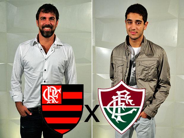 Os torcedores Marcelo Faria e Miguel Rômulo defendem seus times (Foto: Montagem sobre foto de Renato Rocha Miranda / TV Globo)