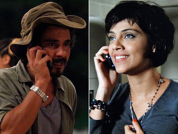 Pedro e Miriam conseguem se falar pelo telefone (Foto: Amor Eterno Amor/TV Globo)