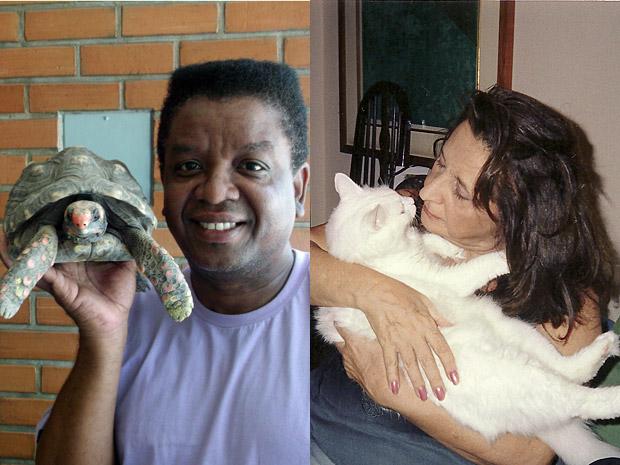 Jorge Maya com Tatá e Thelma Reston com Santinha (Foto: Aquele Beijo/TV Globo)
