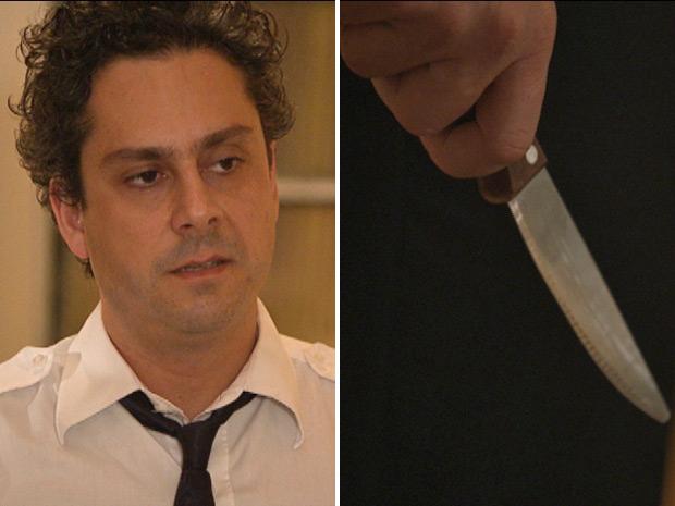 Baltazar morre de ciúmes ao ver Celeste com Pezão e pega uma faca (Foto: Fina Estampa/TV Globo)