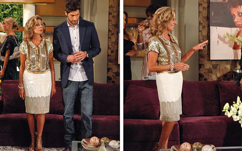 Maruschka usou saia e blusa com brilho que combinaram perfeitamente