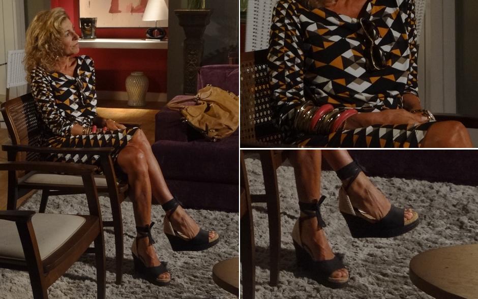 Maruschka mudou o visual. A empresária agora usa vestidos estampados, sandalias espadrille, com muitas pulseiras