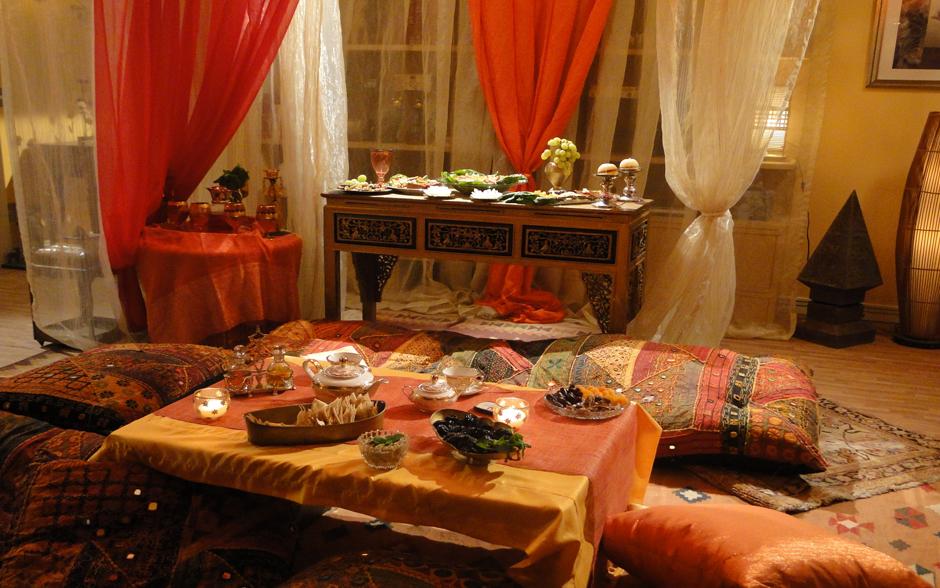 Laura caprichou na decoração do jantar árabe para Fabiano