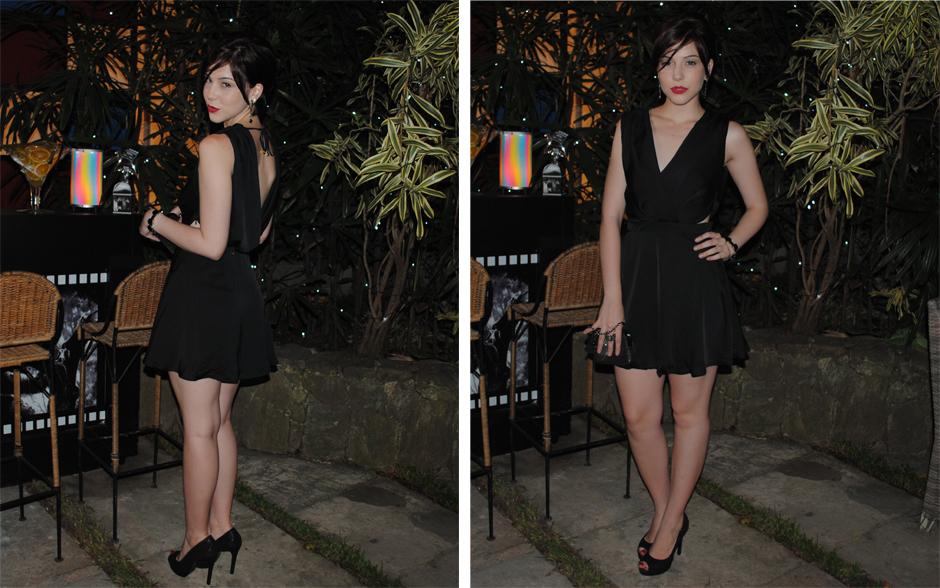 Alexia arrasou com um vestidinho preto com um megadecote nas costas. Para completar a produção, um sapato peep toe da mesma cor