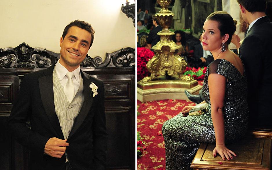 Vicente de colete e gravata prata, elegante e jovial; a madrinha, Camila, optou pelo brilho sobre um tom fechado, que valorizava a pele clara