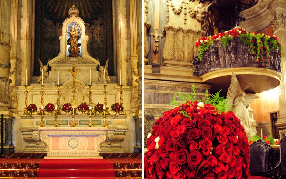Arranjos de rosas vermelhas decoravam a igreja, como Claudia sempre sonhou