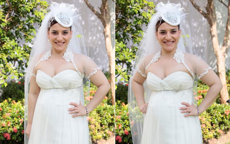 Ariela optou por um modelo tomara que caia com bolero de renda, ideal para a noiva que espera bebê. Na cabeça, o tradicional véu e um modernérrimo fascinator, inspirado na estilosa Kate Middleton