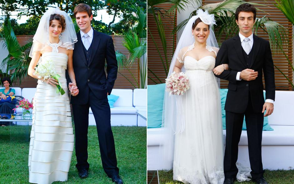 Casamento em dobro: Isadora e Conrado, Ariela e Humberto. Noivas escolhem vestidos em tons off-white. Os noivos combinam o terno com gravata prata. Show de elegância