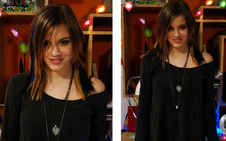 Com atitude rocker, Lia abusa dos colares e dos tons escuros nas roupas