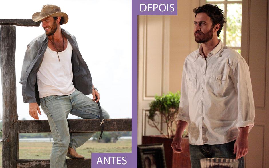 Rodrigo passou de peão de búfalos a grande empresário e isso refletiu em seu estilo. O chapéu foi embora e o jeans surrado deu lugar ao jeans escuro que o Barão usa com camisas sociais