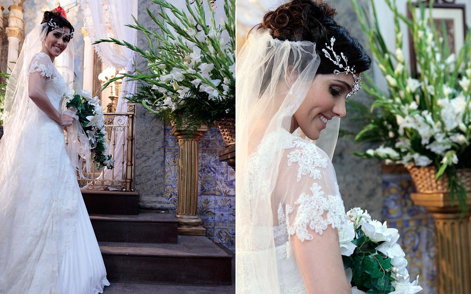 Rendas mais tradicionais, como a Soutache, a cintura é mais baixa, menos marcada que o do casamento verdadeiro