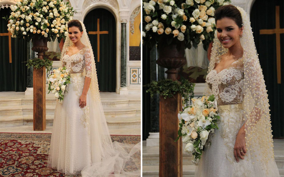 Mariana Rios fez apenas uma prova do vestido, que ficou pronto em um mês. Além das pérolas, o vestido é todo bordado com tramas em fios de ouro