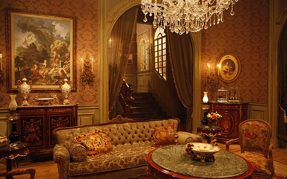 decoracao de sala luxo:sala de estar demonstra a opulência das famílias que tinham