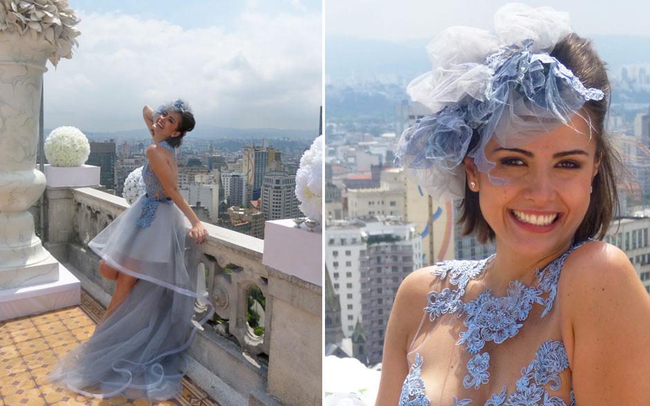 Acessório de cabeça de Patrícia foi feito com tecidos do vestido