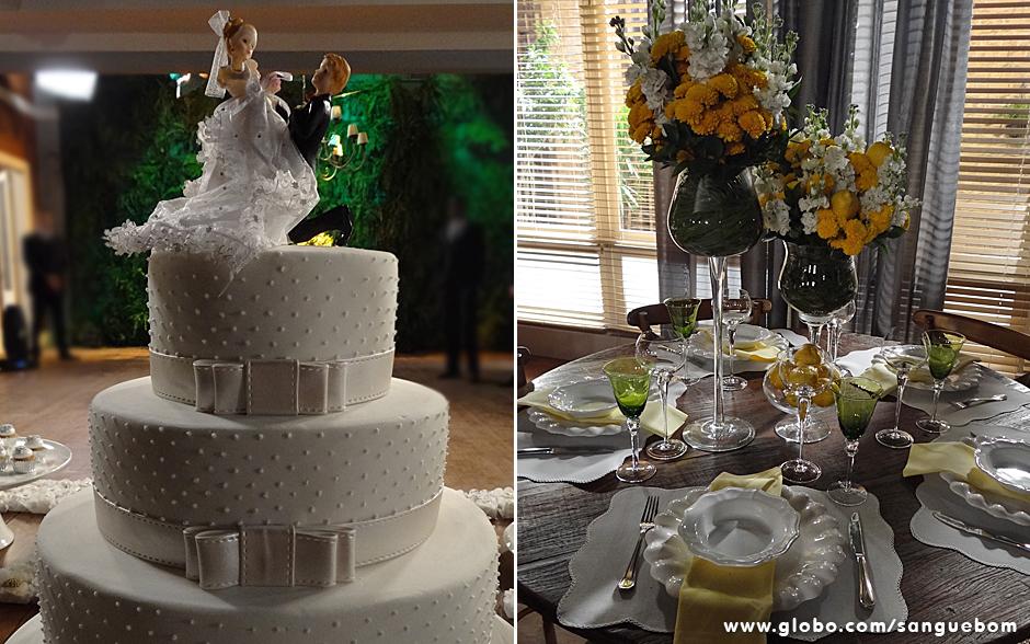 Olha que lindo estse bolo clássico com os bonequinhos! No detalhe, a decoração de uma das mesas da festa com vasos em forma de taças