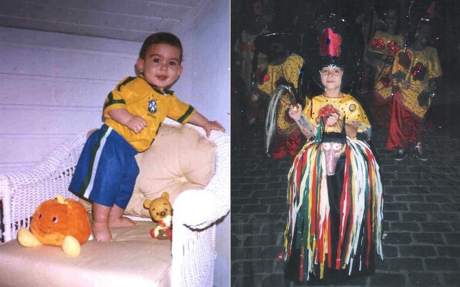 Olha que fofo o Lucca Diniz, que vive o Junior, fantasiado de jogador de futebol. Ao lado Brendow Goyaz, o Minhoca com uma fantasia da escola de samba de sua cidade. Foto: Arquivo Pessoal