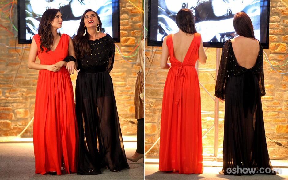 De costas nuas, Marina e Clara escolhem longos vermelho e preto para noite especial