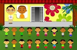 Ajude a Dona Eunice a recolher os 27 filhos na nova casa (caldeirão/tv globo)