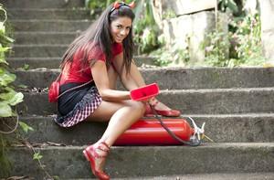 Tainá Grando ensaio roupas para blocos Carnaval (Foto: Domingão do Faustão / TV Globo)