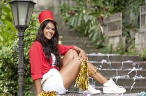 Ana Carolina Oliveira ensaio roupas blocos Carnaval (Foto: Domingão do Faustão / TV Globo)