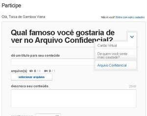 Como sugerir uma pessoa para o Arquivo Confidencial (Foto: Domingão do Faustão / TV Globo)