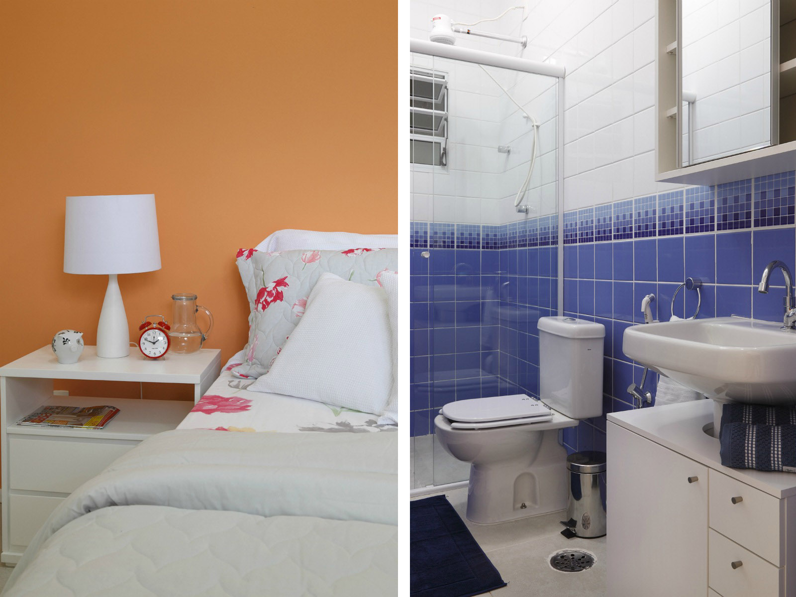 Imagens de #956136 Casal ganha um quarto só para eles amplo e com decoração clean  1600x1200 px 3666 Banheiros Separados Casal
